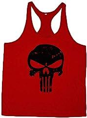 Estampado de Calavera Impresa Tank Top sin Mangas Chaleco Deportivas Gimnasio Muscle