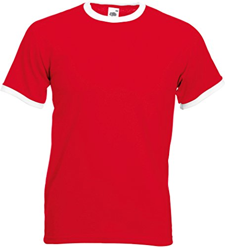 Fruit of the Loom Ringer T-Shirt, vers. Farben L,Rot / Weiß