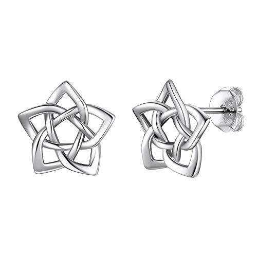 Flor Estrella Nudo Celta Irlandesa Pendientes Plata de Ley para Mujeres Joyerías Irlandesas para Familias Amigas Amuleto Protección