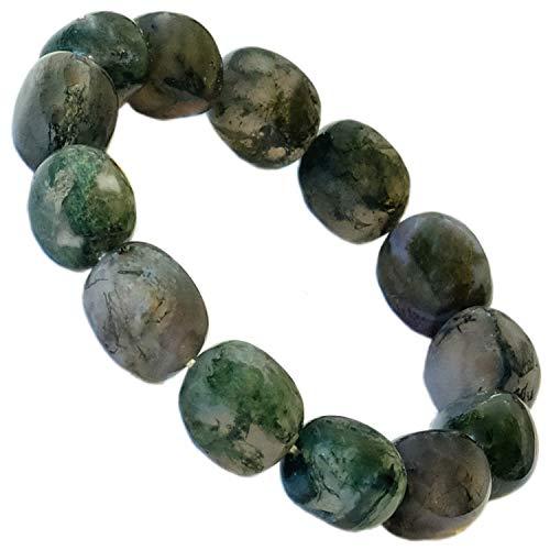 Kaltner Präsente - Pulsera para Pepitas con Piedras Preciosas de ágata Verde Musgo (Banda elástica)