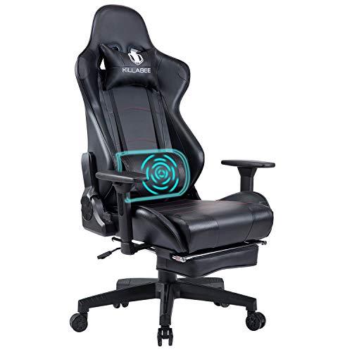 KILLABEE Gaming Stuhl Computerspiel Stuhl mit Fußstütze Racing Stuhl Drehstuhl Bürostuhl Chefsessel Ergonomischer PC Schreibtischstuhl mit Kopfstütze und Massage Unterstützung Lendenkissen (Schwarz)