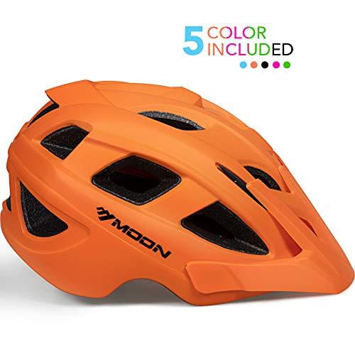 MOON Kids Bike Helmet,Knucklehead Unisex Youth Mountain Road Bicycle Helmet for Girls and Boys with Detachable Visor (Orange, S)