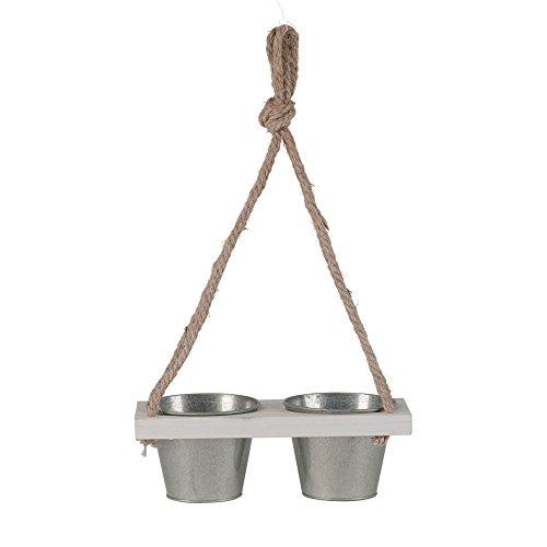 Pot oreilles pendantes Duo 3tlg. Bois Blanc Argent L55 cm