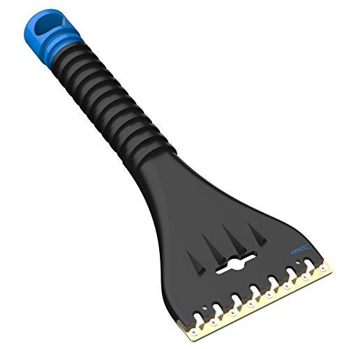 AUPROTEC Grattoir à Glace avec Racloir Double en Laiton et Polycarbonate + Dents Brise-Glace Gratte-Givre Raclette Pare Brise Outil d'hiver AE 1 - Couleur Noir-Bleu