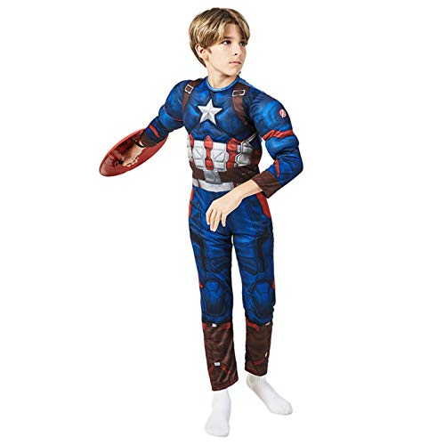 LINLIN Capitn Amrica Cosplay Jumpsuit Superhero Disfraz de Msculo Halloween Halloween Pretend Play Play Body Trajes de Cumpleaos Masquerade Onesies,Blue- Kid M 120~130cm