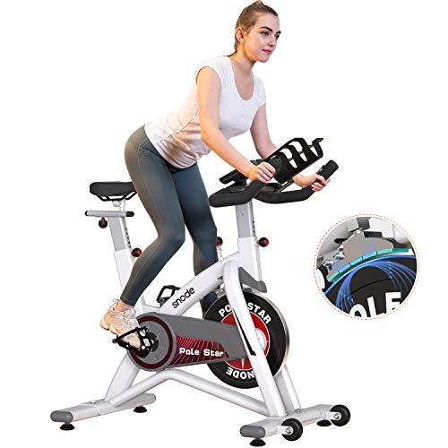 SNODE Indoor Cycling Bike Stationary, Magentic Exercise Bike with Comfortable Seat Cushion, Tablet&Water Bottle Holder, LCD Monitor(2021 New Model)