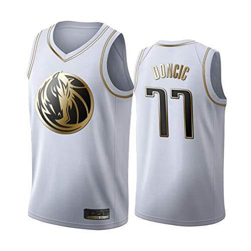 LSJ-ZZ Jersey Men's NBA Dallas Mavericks 77# DONCIC Negro/Blanco-Oro Bordado Jersey, Fan de Baloncesto Unisex Capacitación Sin Mangas Deportes Chaleco,Blanco,XXL