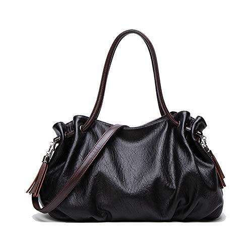 Borsa a mano da donna, grande capacità, da viaggio, in pelle PU, a tracolla, Stile 1, nero. (Nero) - ZYDM009-Black