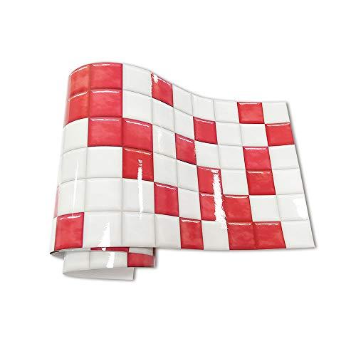 Hiseng Adhesivos Decorativos para Azulejos Pegatinas para Baldosas del Baño/Cocina Estilo de Mosaico de Color Resistente al Agua Pegatina de Pared (Rojo rubí,20x240cm)