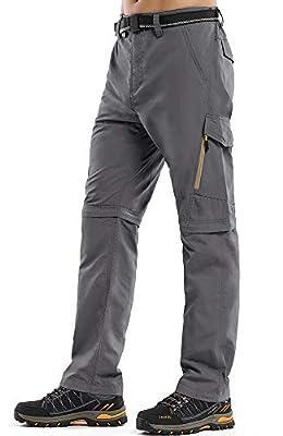 Mens Hiking Stretch Pants Convertible Quick Dry Lightweight Zip Off Outdoor Travel Safari Pants (Z6088 Grey, 34)