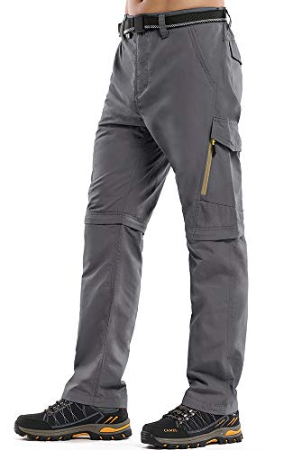 Mens Hiking Stretch Pants Convertible Quick Dry Lightweight Zip Off Outdoor Travel Safari Pants (Z6088 Grey, 32)
