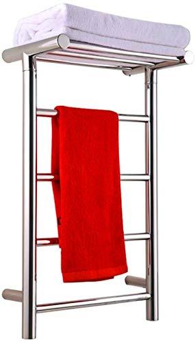 Calentador de toallas, toallero eléctrico, toallero de acero inoxidable, estante de toalla eléctrico con espejo de cromo pulido plateado para baño, mantener las toallas y la ropa seca en la pared