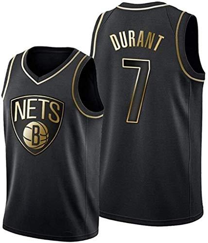 Baloncesto Jersey Nets de Brooklyn, Kevin Durant Jersey # 7 Jersey Oro Negro y Bordado de Malla de Baloncesto Chaleco (Size : XX-Large)
