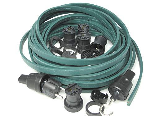 IKu ® Bausatz Illu Lichterkette 10 Meter 20 Fassungen - Stecker - Endstück - Dunkelgrünes Kabel