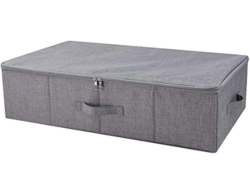 iwill CREATE PRO Under Bed Storage Containers with Lid, Underbed Shoes Storage Box with Zip Cover, Folding Blankets, Clothing Storage Bins, Dark Gray