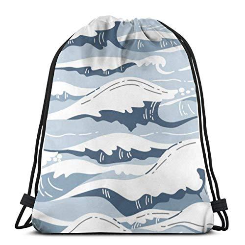 XCNGG Wave After Wave Unisex Drawstring Backpack Bag, Polyester Cinch Sack, Waterproof Sport Gym Bag Casual Daypack for Women Men