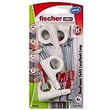fischer - Hembrilla Cerrada EasyHook DuoPower 8x40, tacos para pared, tacos y tornillos, ganchos para colgar, colgar cuadros, Pack de 4 uds.