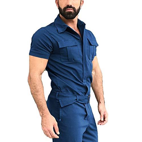 Bowanadacles Mono de manga corta para hombre, con cremallera, pantalones casuales con bolsillos, talla grande, Azul marino/flor y brillo, Large