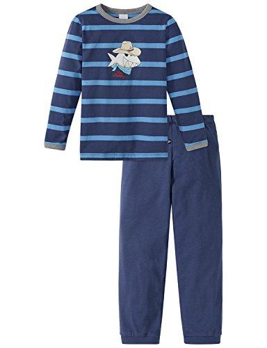 Schiesser Jungen Capt´n Sharky Kn lang Zweiteiliger Schlafanzug, Blau (Blau 800), 92