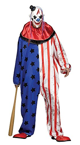 shoperama Evil Clown Costume Jumpsuit With Stars Includes Mask Horror Killer Halloween Sizes LXXL