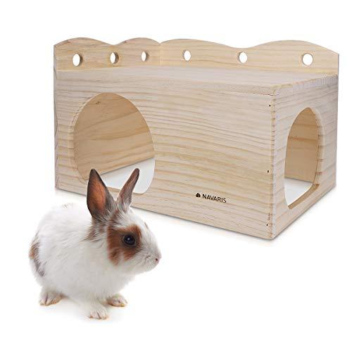 Navaris Casa per Conigli - Conigliera in Legno di Pino Non Trattato 39x27x26cm - Casetta per Coniglio Nano Porcellino d'India Criceto Cavia Roditori