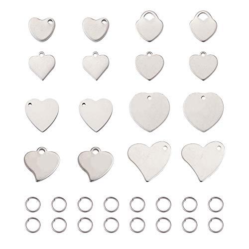 Beadthoven - 160 ciondoli a forma di cuore in acciaio inox 304 con incisione a forma di cuore, con 80 anelli aperti per gioielli, artigianato e creazione di animali domestici, targhette identificative