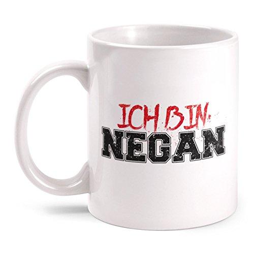 Fashionalarm Tasse Ich bin Negan beidseitig bedruckt mit Motiv Serie T-W-D | Geschenk Idee Fans | Dead Walking Lucille Saviors Baseballschläger, Farbe:weiß