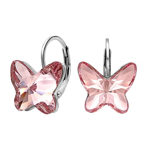 EleQueen 925 Sterling Silver Butterfly Love Hoop Huggie Stud Earrings Pink Made with Crystals