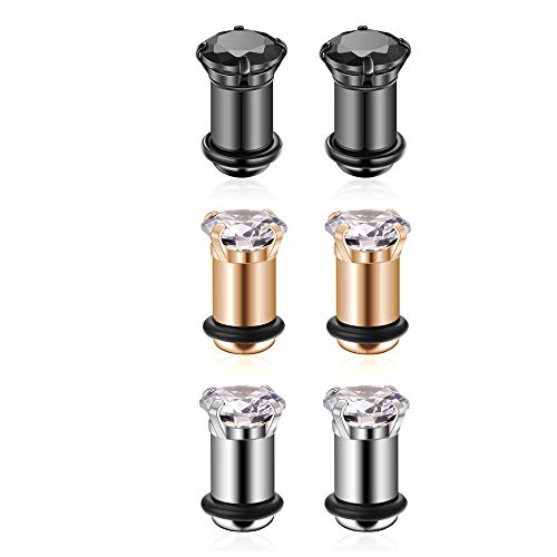 3Pairs Lightweight Ear Gauges Plugs Tunnels 4G/5mm 316L Stainless Steel Prong Setting Clear/Black CZ Ear Stretcher Expander Plugs with Rubber O-Rings (B01:3Pairs(4G=5mm))