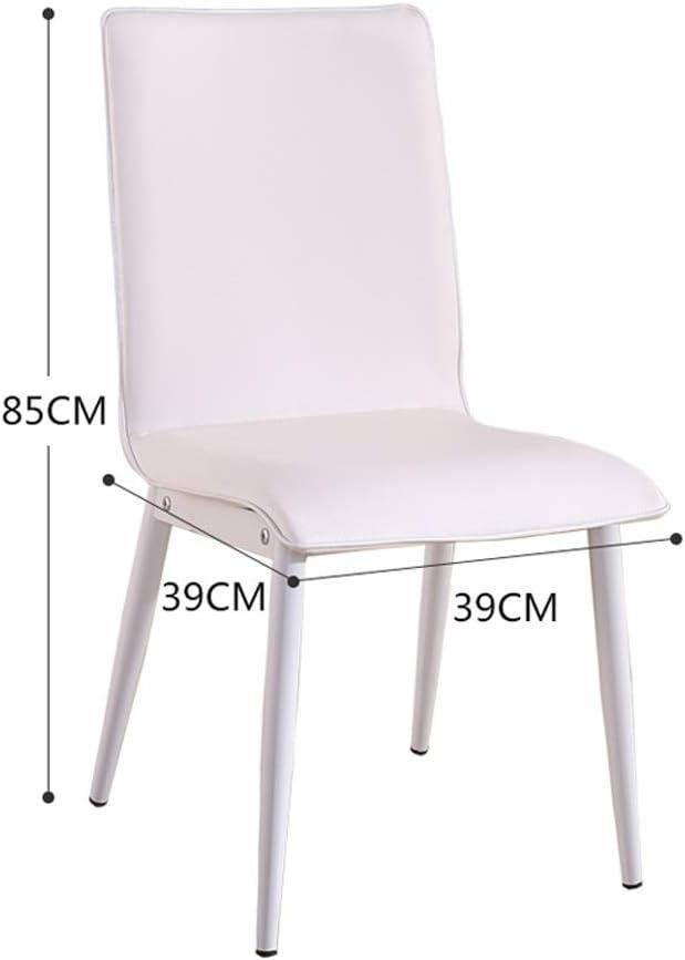 Maison avec dossier Chaise de salle à manger en fer forgé, Chaise de salle à manger décontractée minimaliste moderne, Chaise en cuir avec chaise ++ (Couleur : Gris) White