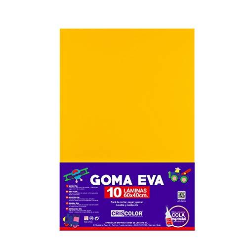 CRISCOLOR GOMA EVA 40x60cm. ADHESIVA SURTIDO 10 COLORES