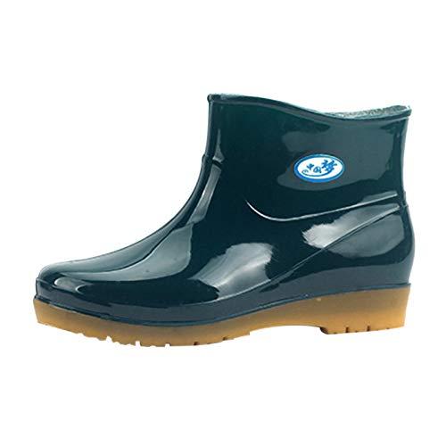Stiefel Frauen Freizeit Low-Heeled Round Toe Schuhe Wasserdicht Mittelrohr Regen (40,1Grün)