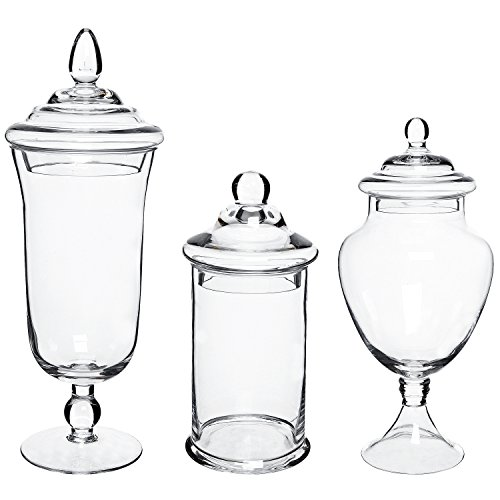 MyGift Clear Glass Apothecary Jars, Decorative Assorted Wedding Centerpieces, Set of 3