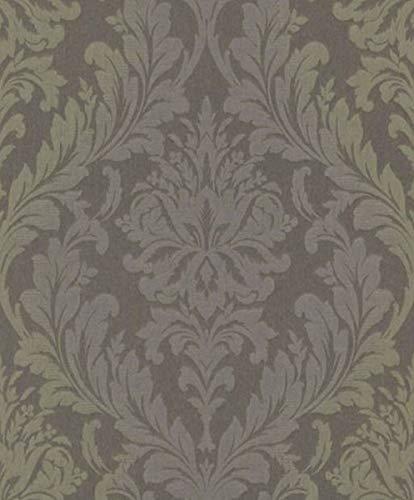 Casa Padrino Barock Textiltapete Grau/Grün/Lila 10,05 x 0,53 m - Wohnzimmer Tapete - Deko Accessoires im Barockstil