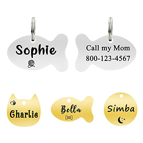 Ultra Joys Cat ID Tag, Cat Tags Personalized, Cat Collar with Name Tag, Dog Tag, Pet ID Tag, Mirror Polished Stainless Steel Cat Tag, Both Side Engravable, Fish Tag in Silver