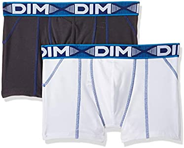 Dim 3D Flex Air Boxer Long X16, Multicolor (Blanc Ct Bleu/Gris plomb CT Bleu), Small (Talla del fabricante 2) (Pack de 2) para Hombre