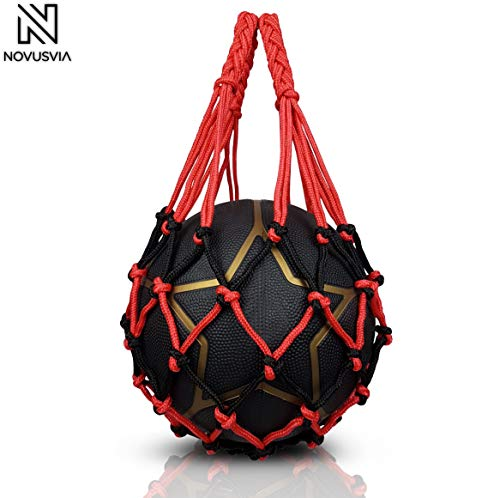 NOVUSVIA Premium Ballnetz 1 Ball [ROBUST & HOCHWERTIG] Balltragenetz Ball Carry Net [5 mm dick] Passend Für Verschiedene Ballgrößen [Besonders Belastungsfähig Mit Edelstahlring] Rot-Schwarz