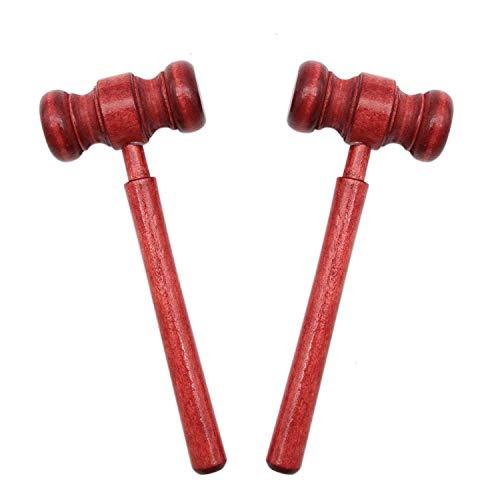 esowemsn 2pcs Mini Wooden Gavel Toy Kids Judge Gavels Cosplay Lawyer Judge Gavel Costume Props for Meeting Boys Girls Children Toy