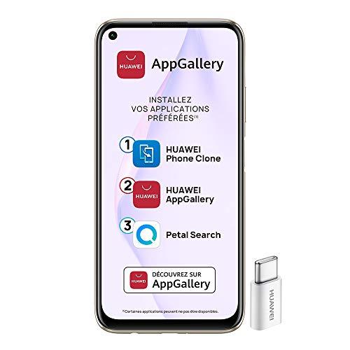 Huawei P40 Lite Smartphone débloqué 4G (6,4 pouces - 6/128go - Double Nano SIM EMUI 10.1 & AppGallery ) Rose + 52VA Adapter - Type C Plug [Version Française]