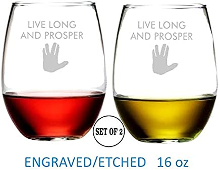 "Live Long And Prosper Star Trek Inspired Stemless Wine Glasses | Etched Engraved | Great Handmade Present for Everyone | Dishwasher Safe | Set of 2 | 4.25"" High x 3.5"" Wide 
