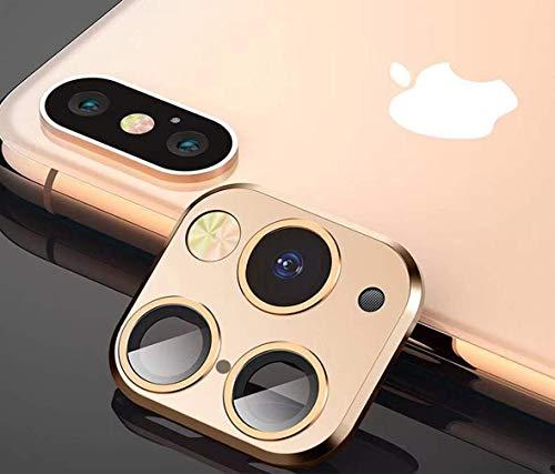 FTYSXP Geändertes Kameraobjektiv Sek&en Wechselcover für iPhone X XS XS/MAX Aufkleber Gefälschte Kamera für iPhone 11 Pro Max Metallschutzfolie Wechsel zu iPhone pro/Max (Champagner Gold)