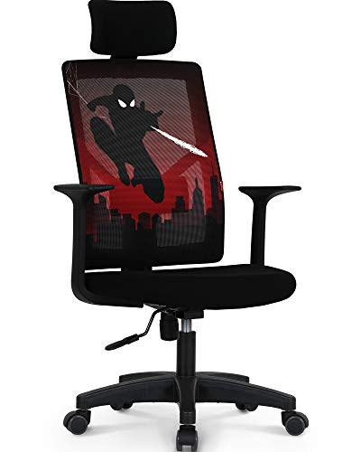 Marvel Avengers Office Chair Computer Desk Headrest Chair Gaming - Ergonomic Mid Back Cushion Lumbar Support Wheels Comfortable Mesh Racing Seat Adjustable Swivel Rolling Home Executive