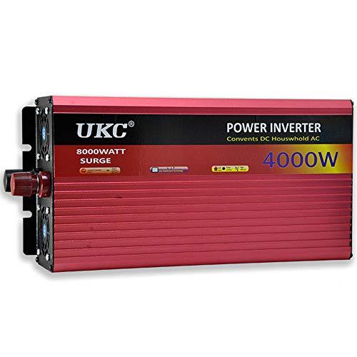 Inversores de Alta Potencia de 2500W/3000W/4000W, DC 12V/24V/48V/60V A Ac 220V, Convertidor de Voltaje Convertidor de Inversor Sinusoidal con Enchufes y Conexión USB, para Vehículos RV Car Tru