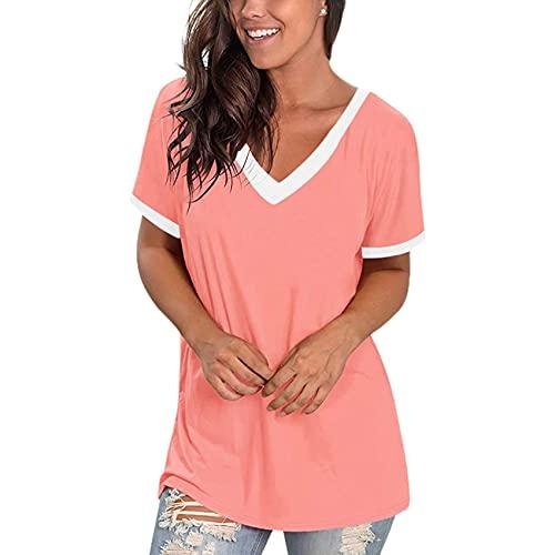 Camisetas para Mujer con Cuello en V, Camiseta de Manga Corta para Mujer, Jersey de Verano con Cuello en V, Blusa para Mujer