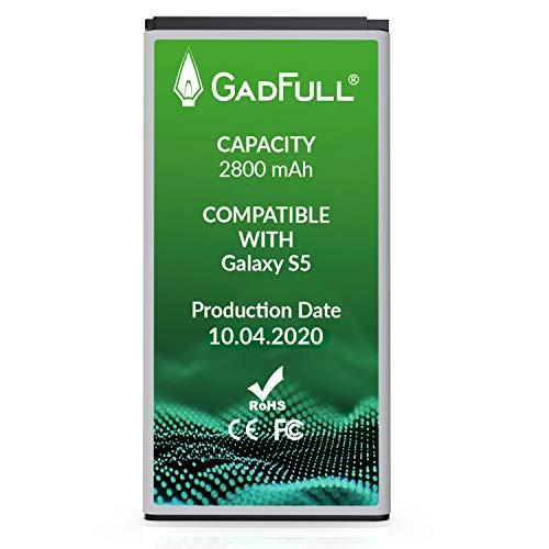 GadFull Batería de reemplazo para Samsung Galaxy S5 | 2020 Fecha de producción | Corresponde al Original EB-BG900BBE EB-BG900 | Compatible con Galaxy S5 SM-G900F batería de Repuesto