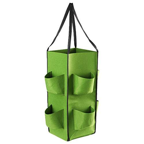 Muvk 8 ポケット ハンドル付き ハンギングフラワーポット 不織布 栽培ポット イチゴ栽培バッグ 通気性 野菜プランター(green)