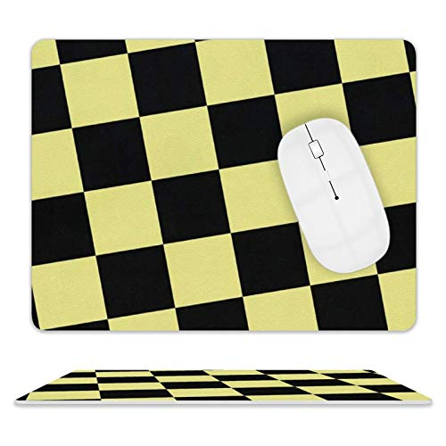 Leather Mouse Pad for Computers & PC Accurate Cursor 8'10' Mouse Mat with Stitched Edge Easy to Clean Mouse Pads (Black and Yellow Plaid)