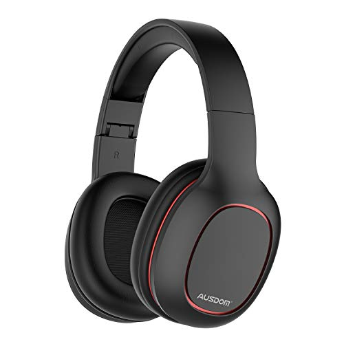 AUSDOM M09 Bluetooth Headphones Over Ear, Lightweight Wireless Headset with Microphone, Foldable and Adjustable Band, Soft Earpads, Volume Control, HD Sound Quality for Travel/Work/Cellphone, Black