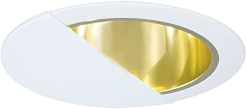 Jesco Lighting TM630PBWH 6-Inch Aperture Line Voltage Trim Recessed Light, Wall Washer With Reflector, Polished Brass Finish With White Trim