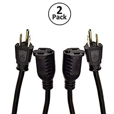 Digital Energy 3Prong 25 Foot Long Extension Cords - Two Pack - 3 Prong Single Outlet Heavy Duty Indoor/Outdoor Grounded Extension Cord 13 AMP 125V 1625 Watts, UL Listed